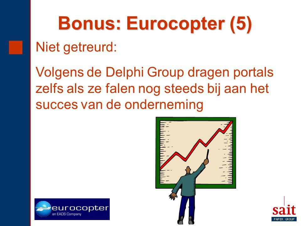  Niet getreurd: Volgens de Delphi Group dragen portals zelfs als ze falen nog steeds bij aan het succes van de onderneming Bonus: Eurocopter (5)
