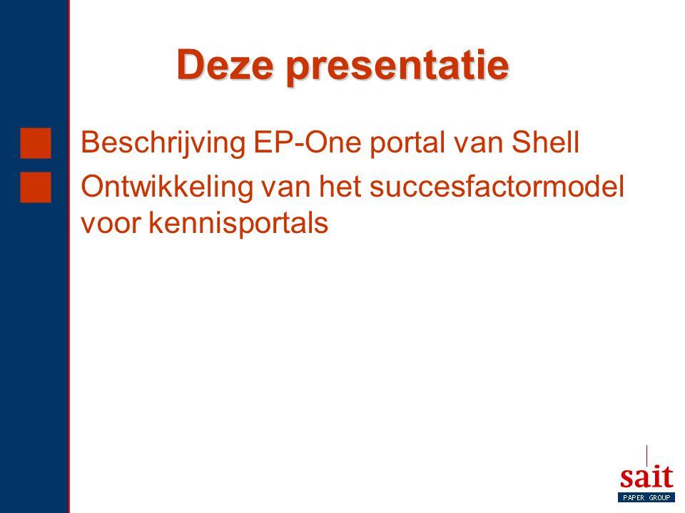 Deze presentatie  Beschrijving EP-One portal van Shell  Ontwikkeling van het succesfactormodel voor kennisportals