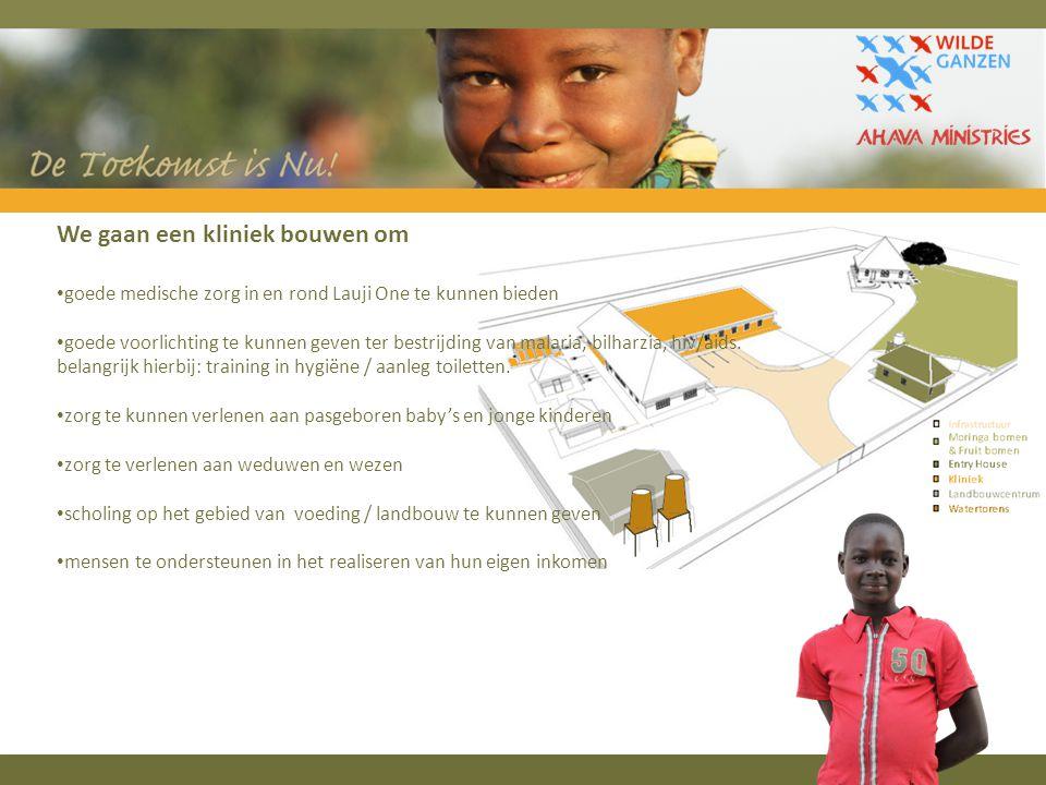 We gaan een kliniek bouwen om goede medische zorg in en rond Lauji One te kunnen bieden goede voorlichting te kunnen geven ter bestrijding van malaria, bilharzia, hiv/aids.