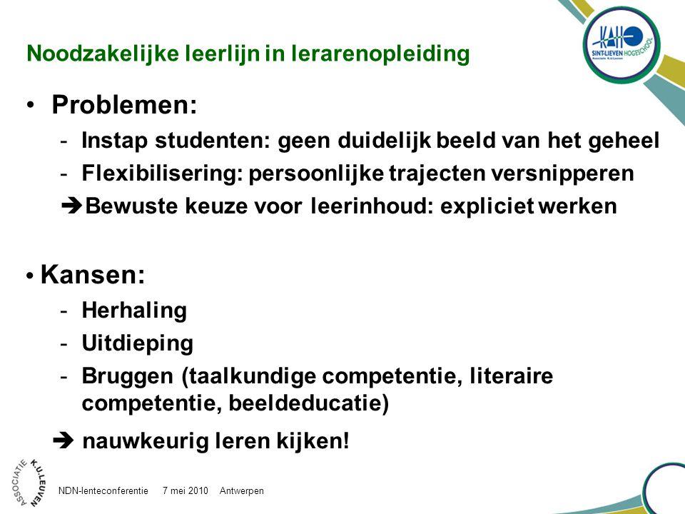 Noodzakelijke leerlijn in lerarenopleiding Problemen: -Instap studenten: geen duidelijk beeld van het geheel -Flexibilisering: persoonlijke trajecten