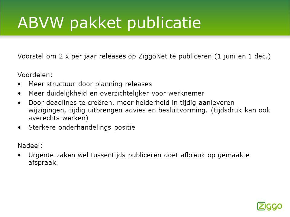 ABVW pakket publicatie Voorstel om 2 x per jaar releases op ZiggoNet te publiceren (1 juni en 1 dec.) Voordelen: Meer structuur door planning releases