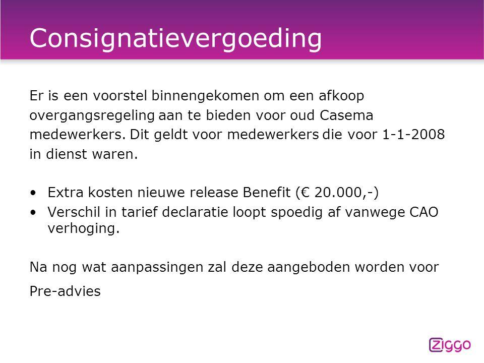 Consignatievergoeding Er is een voorstel binnengekomen om een afkoop overgangsregeling aan te bieden voor oud Casema medewerkers.