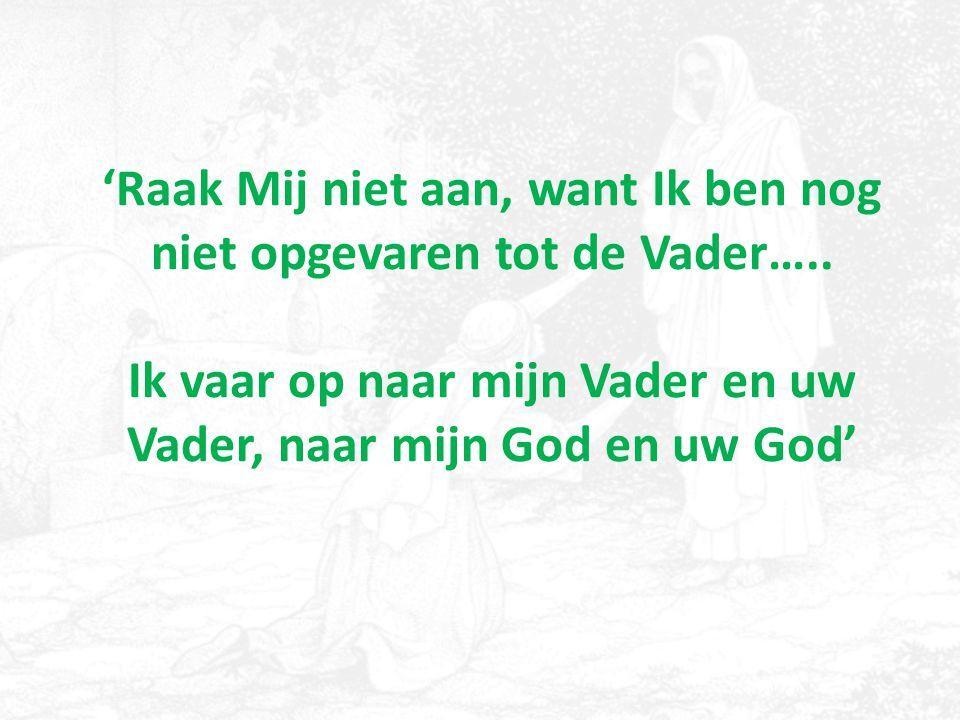 'Raak Mij niet aan, want Ik ben nog niet opgevaren tot de Vader….. Ik vaar op naar mijn Vader en uw Vader, naar mijn God en uw God'