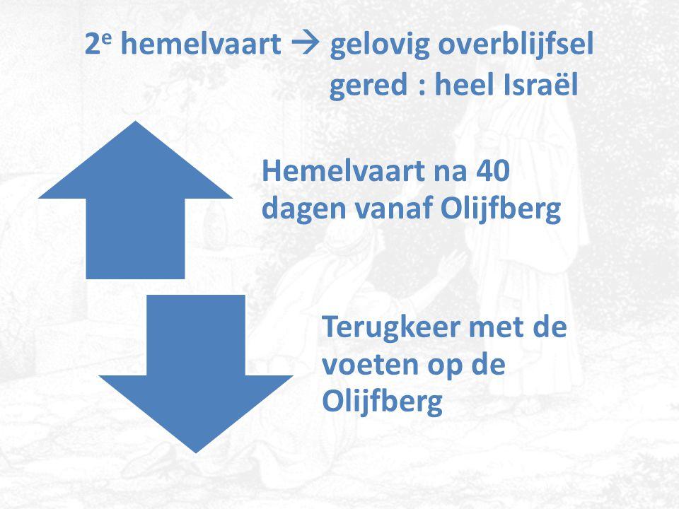 2 e hemelvaart  gelovig overblijfsel gered : heel Israël Hemelvaart na 40 dagen vanaf Olijfberg Terugkeer met de voeten op de Olijfberg