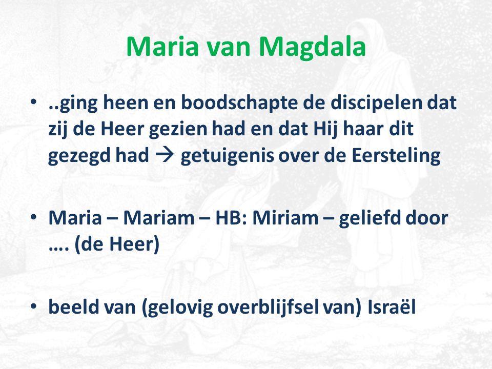 Maria van Magdala..ging heen en boodschapte de discipelen dat zij de Heer gezien had en dat Hij haar dit gezegd had  getuigenis over de Eersteling Ma