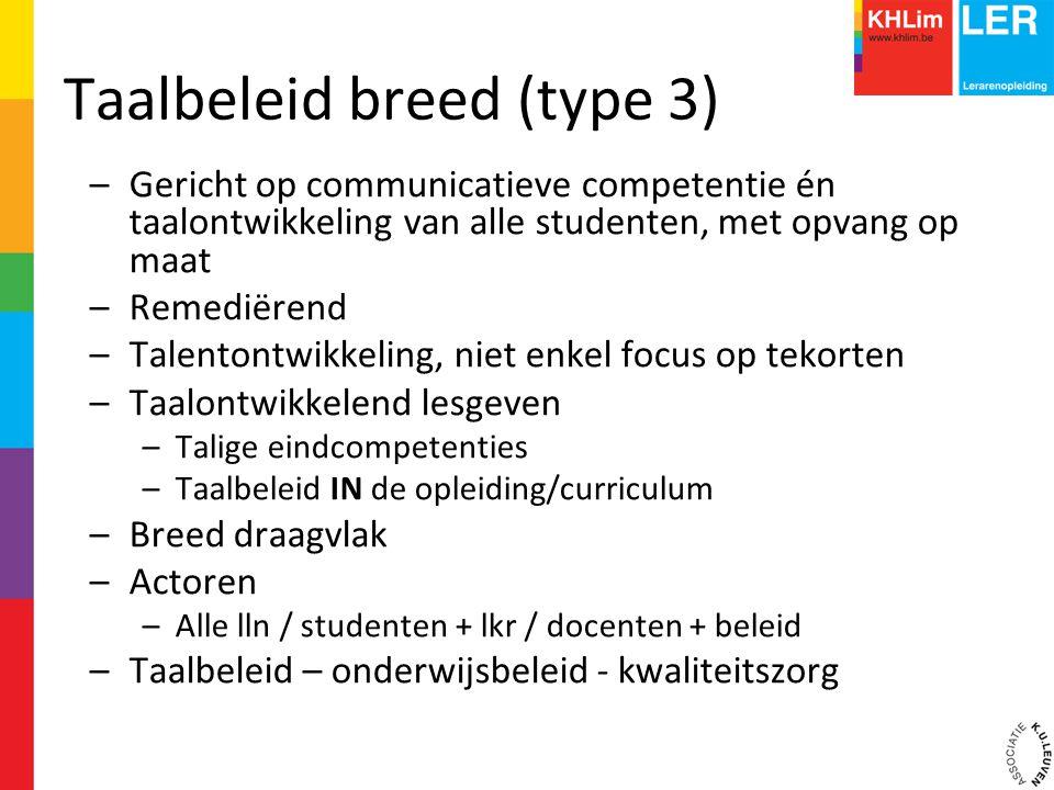 Taalbeleid breed (type 3) –Gericht op communicatieve competentie én taalontwikkeling van alle studenten, met opvang op maat –Remediërend –Talentontwik