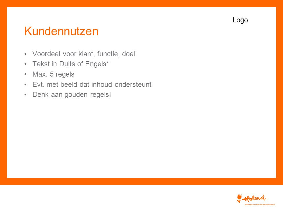Kundennutzen Voordeel voor klant, functie, doel Tekst in Duits of Engels* Max.