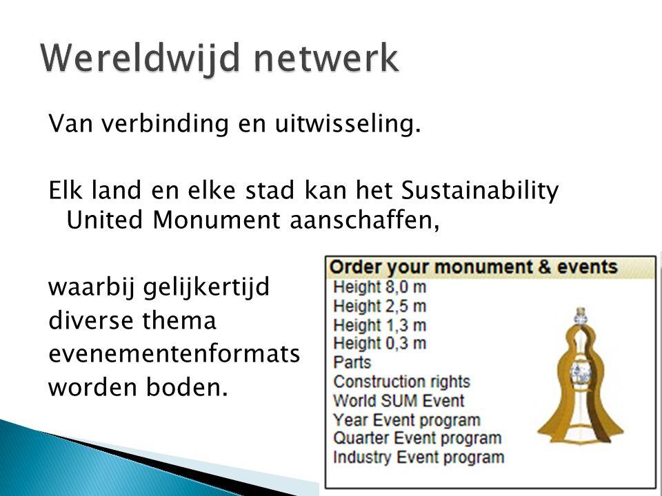 Van verbinding en uitwisseling. Elk land en elke stad kan het Sustainability United Monument aanschaffen, waarbij gelijkertijd diverse thema evenement