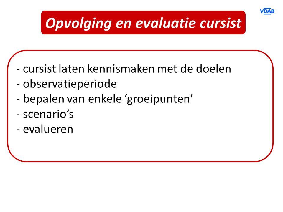 Opvolging en evaluatie cursist - cursist laten kennismaken met de doelen - observatieperiode - bepalen van enkele 'groeipunten' - scenario's - evaluer