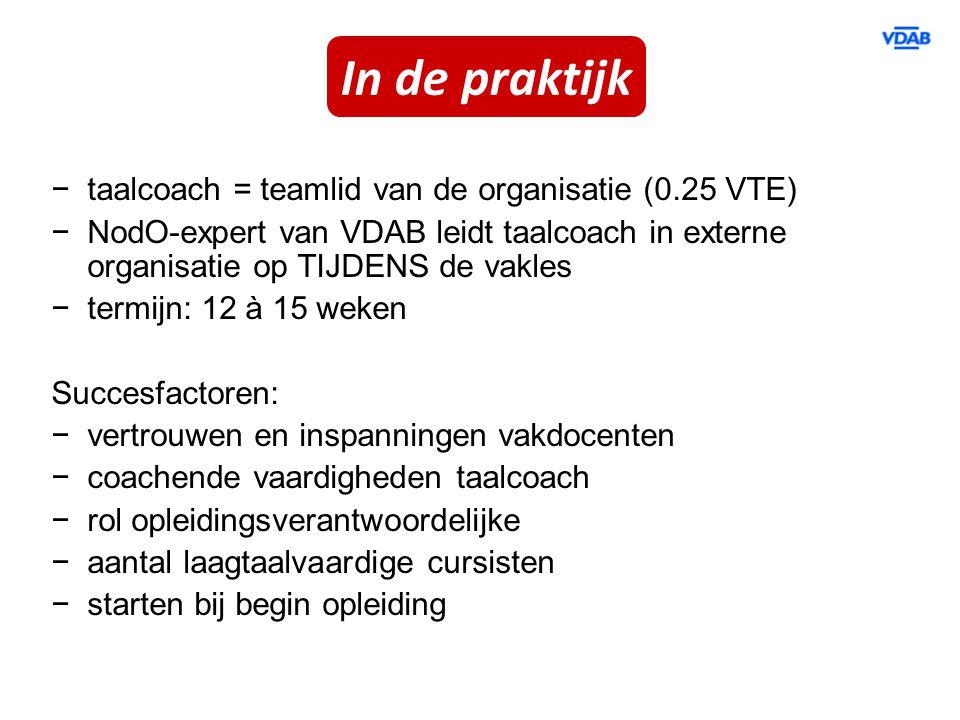 −taalcoach = teamlid van de organisatie (0.25 VTE) −NodO-expert van VDAB leidt taalcoach in externe organisatie op TIJDENS de vakles −termijn: 12 à 15