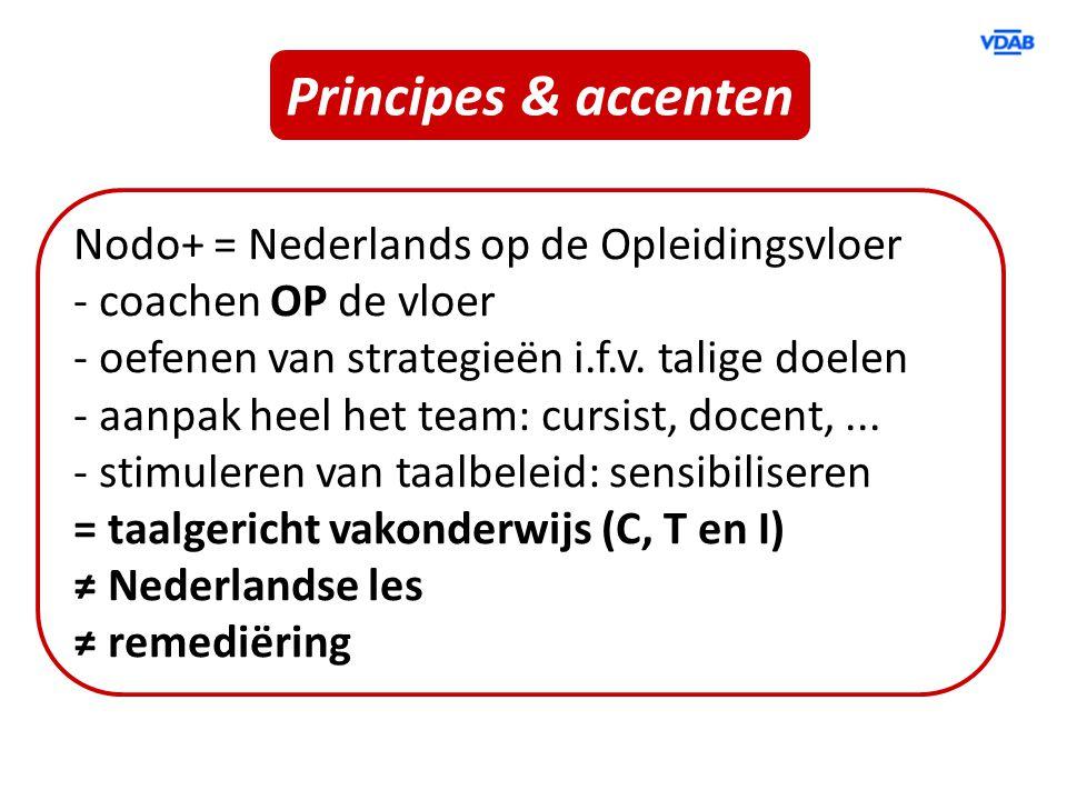 Principes & accenten Nodo+ = Nederlands op de Opleidingsvloer - coachen OP de vloer - oefenen van strategieën i.f.v. talige doelen - aanpak heel het t