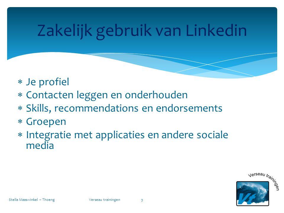  Je profiel  Contacten leggen en onderhouden  Skills, recommendations en endorsements  Groepen  Integratie met applicaties en andere sociale medi