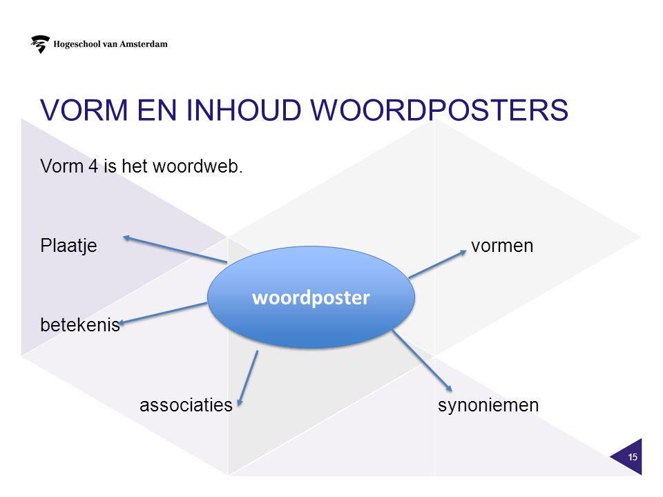 VORM EN INHOUD WOORDPOSTERS 15 Vorm 4 is het woordweb. Plaatjevormen betekenis associatiessynoniemen woordposter