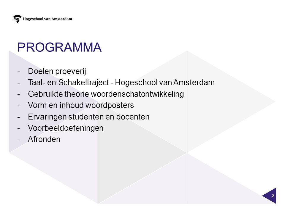 PROGRAMMA -Doelen proeverij -Taal- en Schakeltraject - Hogeschool van Amsterdam -Gebruikte theorie woordenschatontwikkeling -Vorm en inhoud woordposte