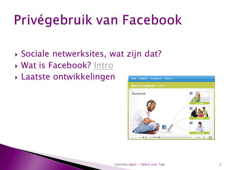  Sociale netwerksites, wat zijn dat?  Wat is Facebook? IntroIntro  Laatste ontwikkelingen 2Corintha Apon - Talent voor Taal