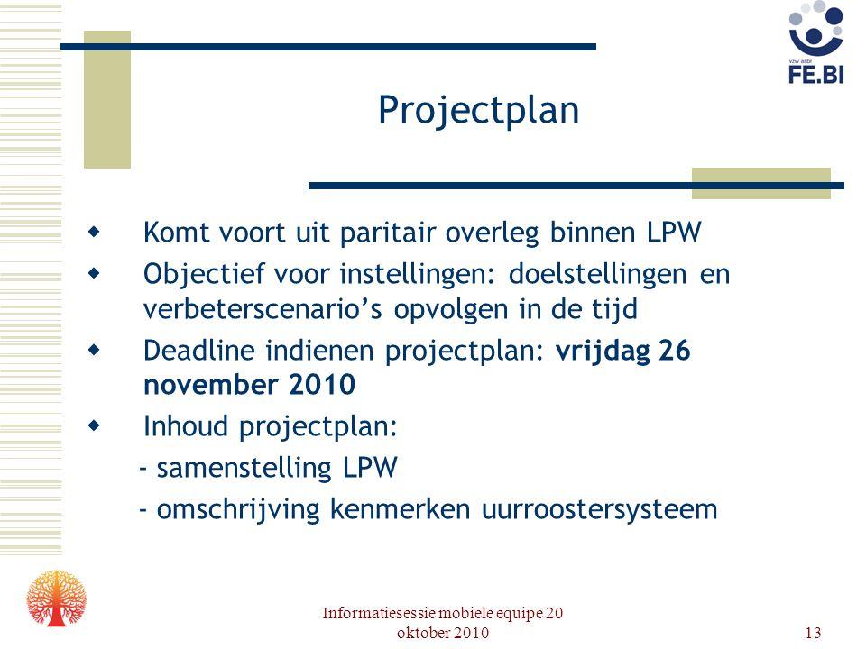 Informatiesessie mobiele equipe 20 oktober 201013 Projectplan  Komt voort uit paritair overleg binnen LPW  Objectief voor instellingen: doelstelling