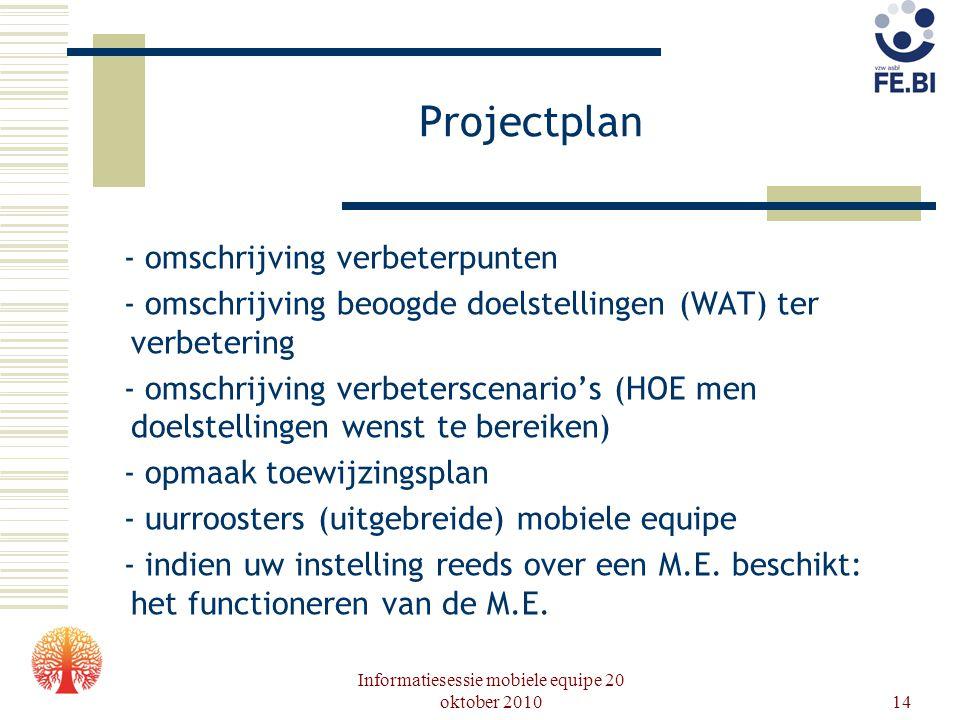 Informatiesessie mobiele equipe 20 oktober 201014 Projectplan - omschrijving verbeterpunten - omschrijving beoogde doelstellingen (WAT) ter verbeterin