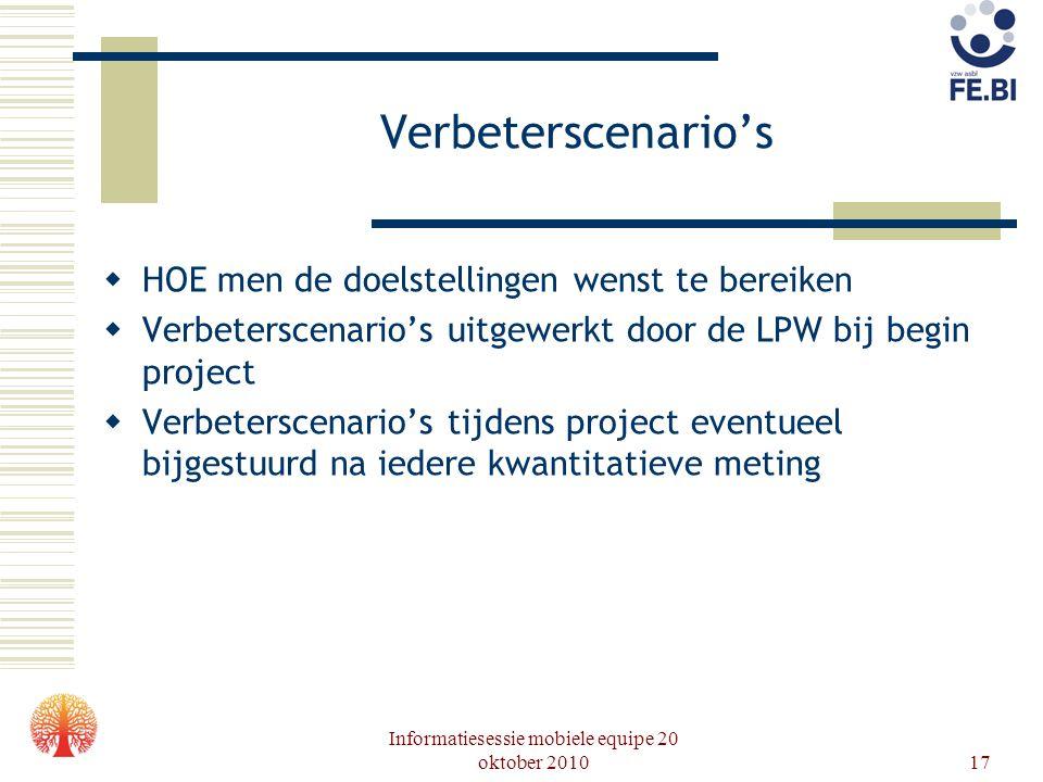 Informatiesessie mobiele equipe 20 oktober 201017 Verbeterscenario's  HOE men de doelstellingen wenst te bereiken  Verbeterscenario's uitgewerkt doo