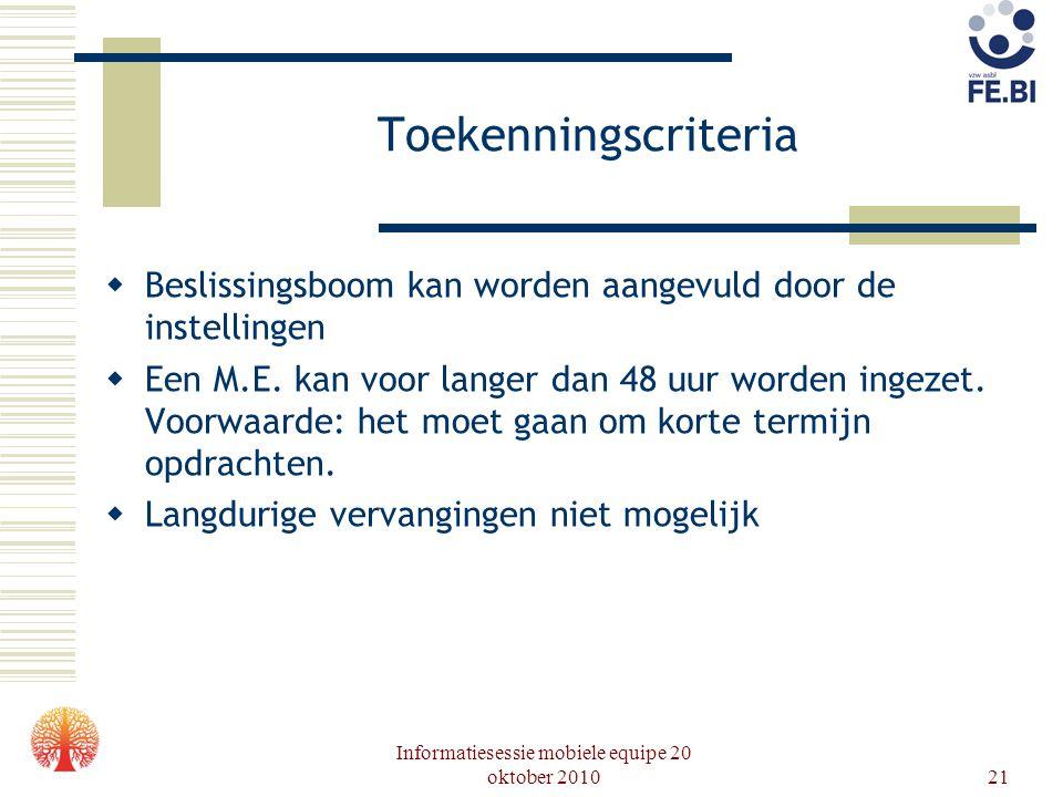 Informatiesessie mobiele equipe 20 oktober 201021 Toekenningscriteria  Beslissingsboom kan worden aangevuld door de instellingen  Een M.E. kan voor