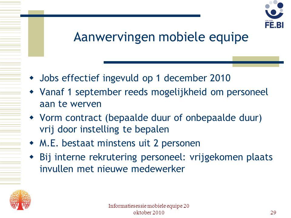 Informatiesessie mobiele equipe 20 oktober 201029 Aanwervingen mobiele equipe  Jobs effectief ingevuld op 1 december 2010  Vanaf 1 september reeds m