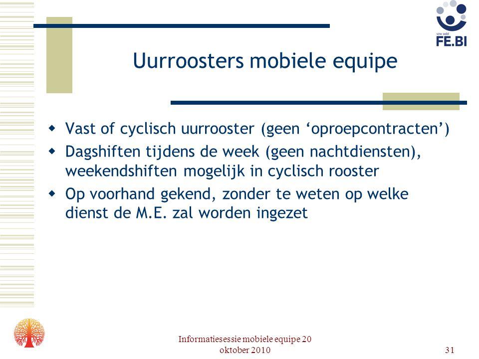 Informatiesessie mobiele equipe 20 oktober 201031 Uurroosters mobiele equipe  Vast of cyclisch uurrooster (geen 'oproepcontracten')  Dagshiften tijd