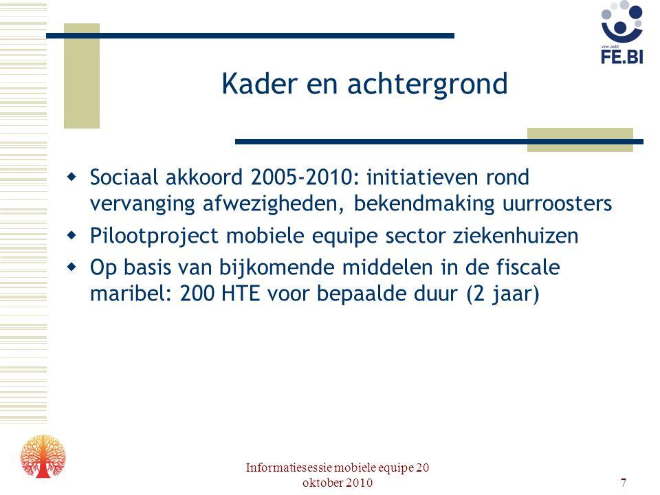Informatiesessie mobiele equipe 20 oktober 20107 Kader en achtergrond  Sociaal akkoord 2005-2010: initiatieven rond vervanging afwezigheden, bekendma