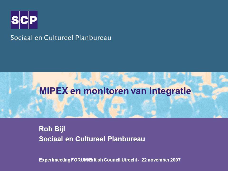 * Migrant Integration Policy Index - MIPEX * Jaarrapport Integratie (incl.
