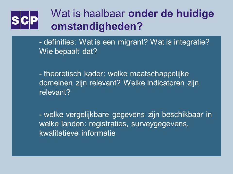Wat is haalbaar onder de huidige omstandigheden? - definities: Wat is een migrant? Wat is integratie? Wie bepaalt dat? - theoretisch kader: welke maat