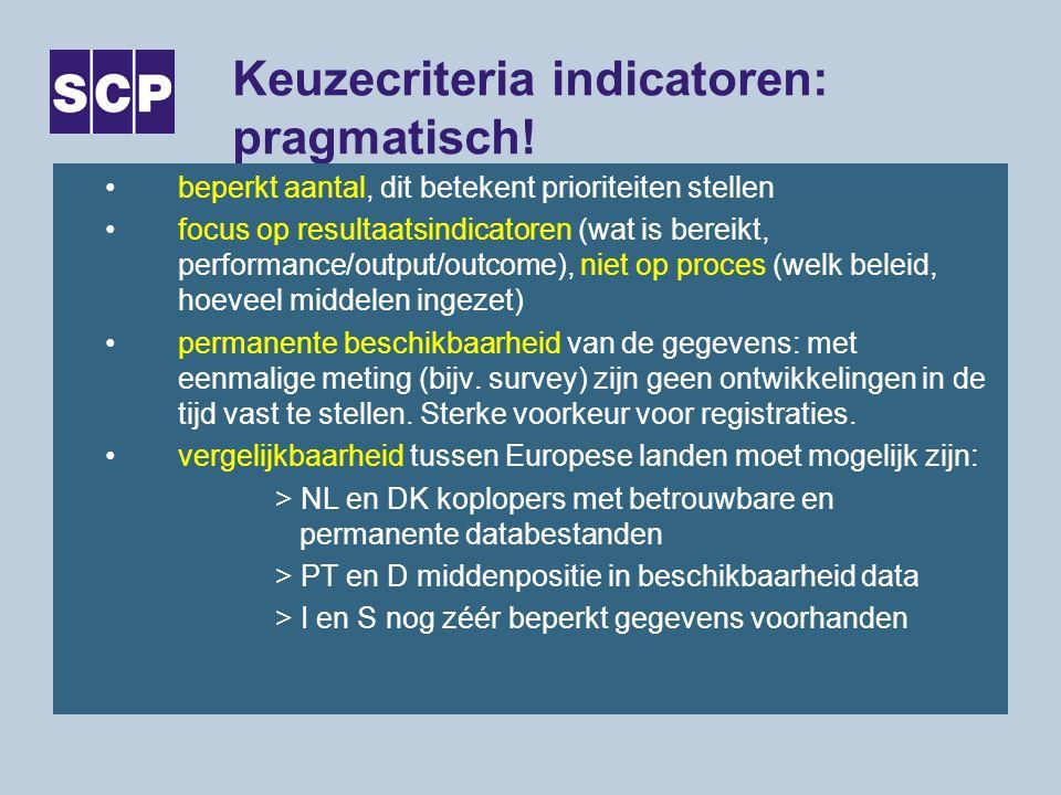 Keuzecriteria indicatoren: pragmatisch! beperkt aantal, dit betekent prioriteiten stellen focus op resultaatsindicatoren (wat is bereikt, performance/