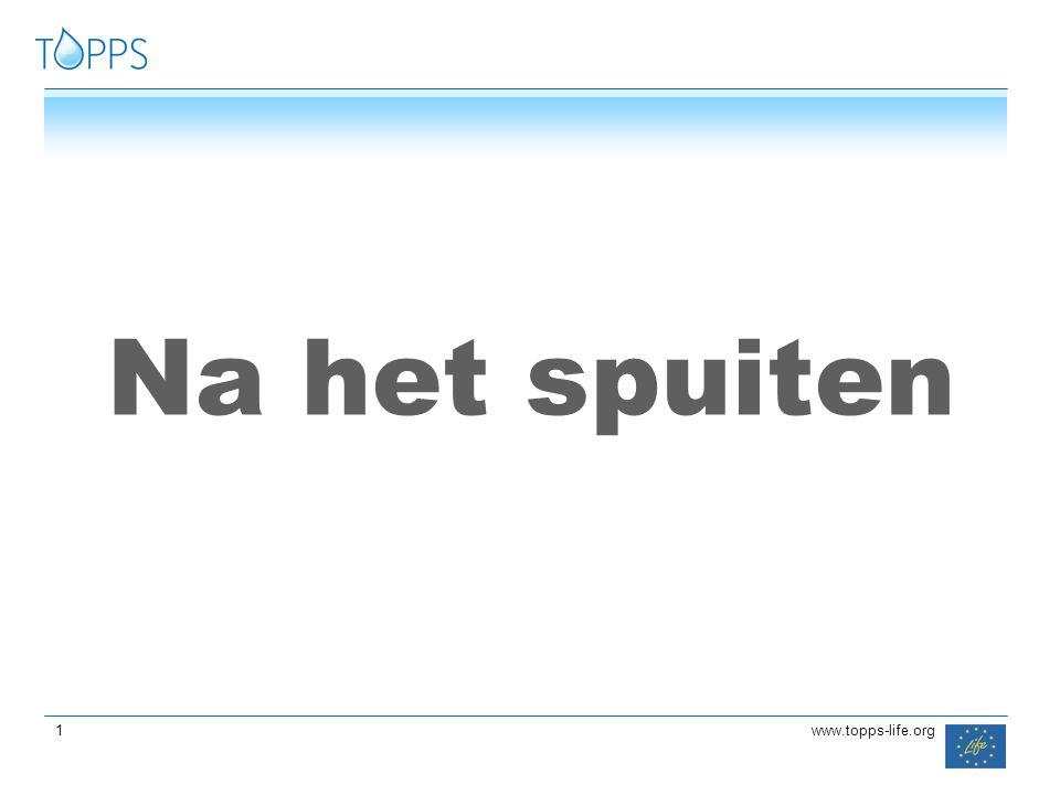 22 www.topps-life.org Afzetting van de spuitoplossing op buitenkant spuittoestel na het spuiten van 1,25 ha.