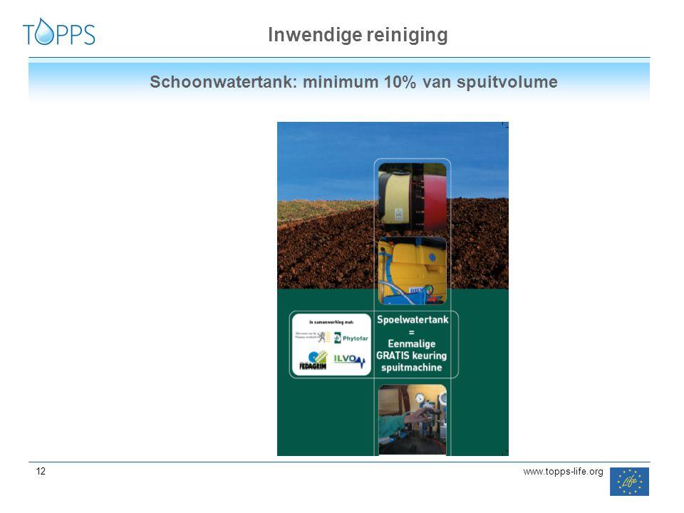 12 www.topps-life.org Inwendige reiniging Schoonwatertank: minimum 10% van spuitvolume