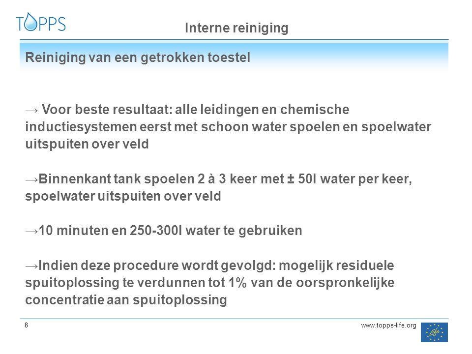 88 8www.topps-life.org Interne reiniging Reiniging van een getrokken toestel → Voor beste resultaat: alle leidingen en chemische inductiesystemen eers