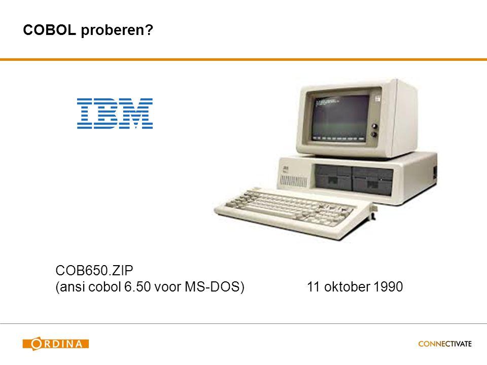 COBOL proberen? COB650.ZIP (ansi cobol 6.50 voor MS-DOS) 11 oktober 1990