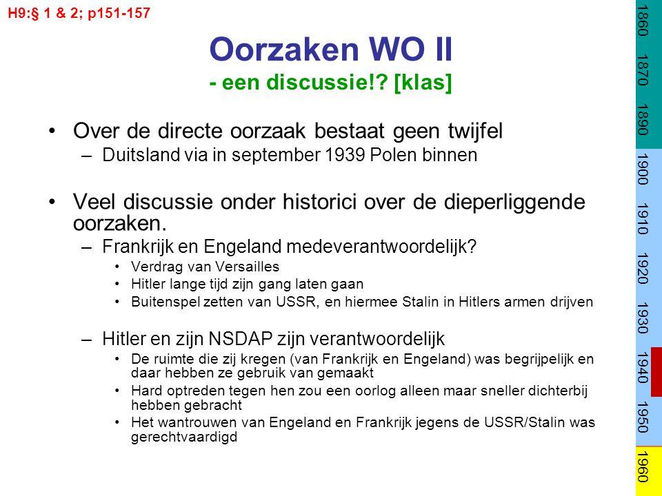 Oorzaken WO II - een discussie!? [klas] Over de directe oorzaak bestaat geen twijfel –Duitsland via in september 1939 Polen binnen Veel discussie onde