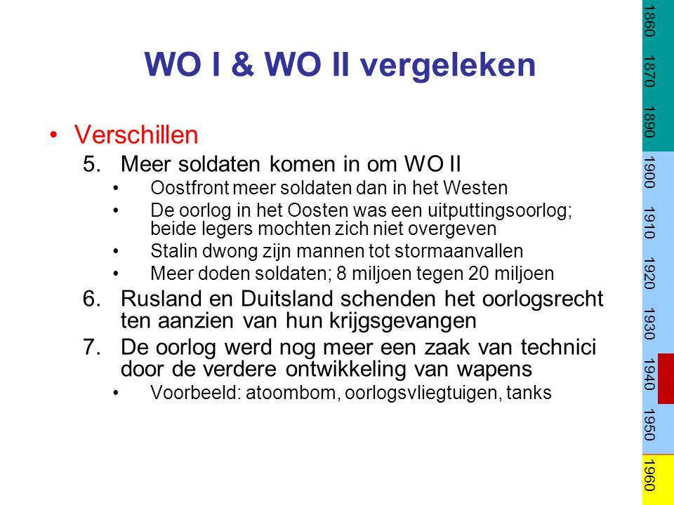 WO I & WO II vergeleken Verschillen 5.Meer soldaten komen in om WO II Oostfront meer soldaten dan in het Westen De oorlog in het Oosten was een uitput