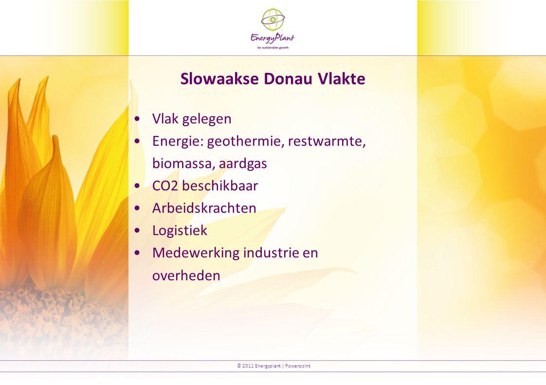 © 2011 Energyplant | Powerpoint Slowaakse Donau Vlakte Vlak gelegen Energie: geothermie, restwarmte, biomassa, aardgas CO2 beschikbaar Arbeidskrachten Logistiek Medewerking industrie en overheden