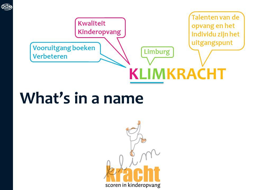 KLIMKRACHT What's in a name Kwaliteit Kinderopvang Limburg Talenten van de opvang en het individu zijn het uitgangspunt Vooruitgang boeken Verbeteren