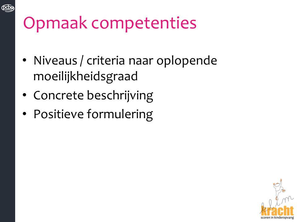 Opmaak competenties Niveaus / criteria naar oplopende moeilijkheidsgraad Concrete beschrijving Positieve formulering