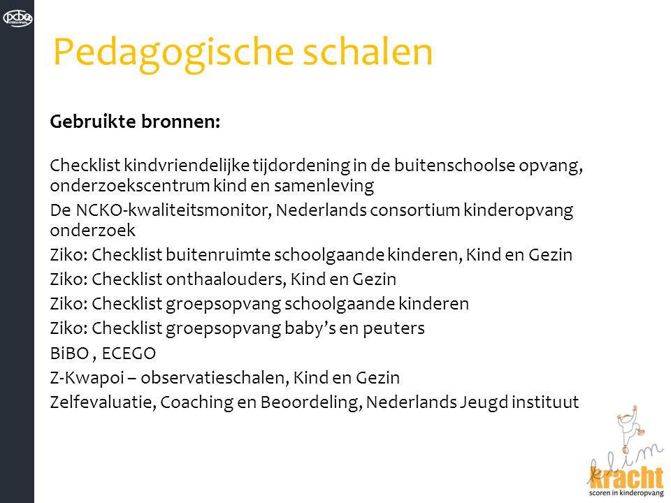 Pedagogische schalen Gebruikte bronnen: Checklist kindvriendelijke tijdordening in de buitenschoolse opvang, onderzoekscentrum kind en samenleving De