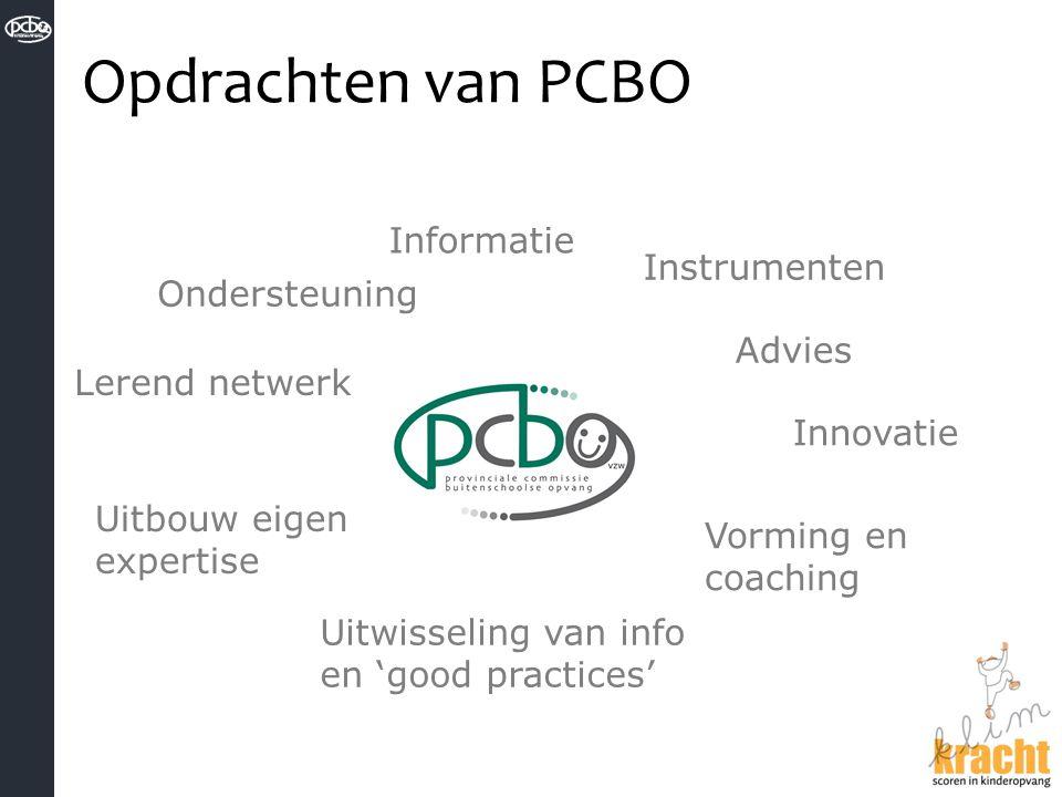 Opdrachten van PCBO Instrumenten Advies Ondersteuning Informatie Lerend netwerk Uitwisseling van info en 'good practices' Vorming en coaching Uitbouw
