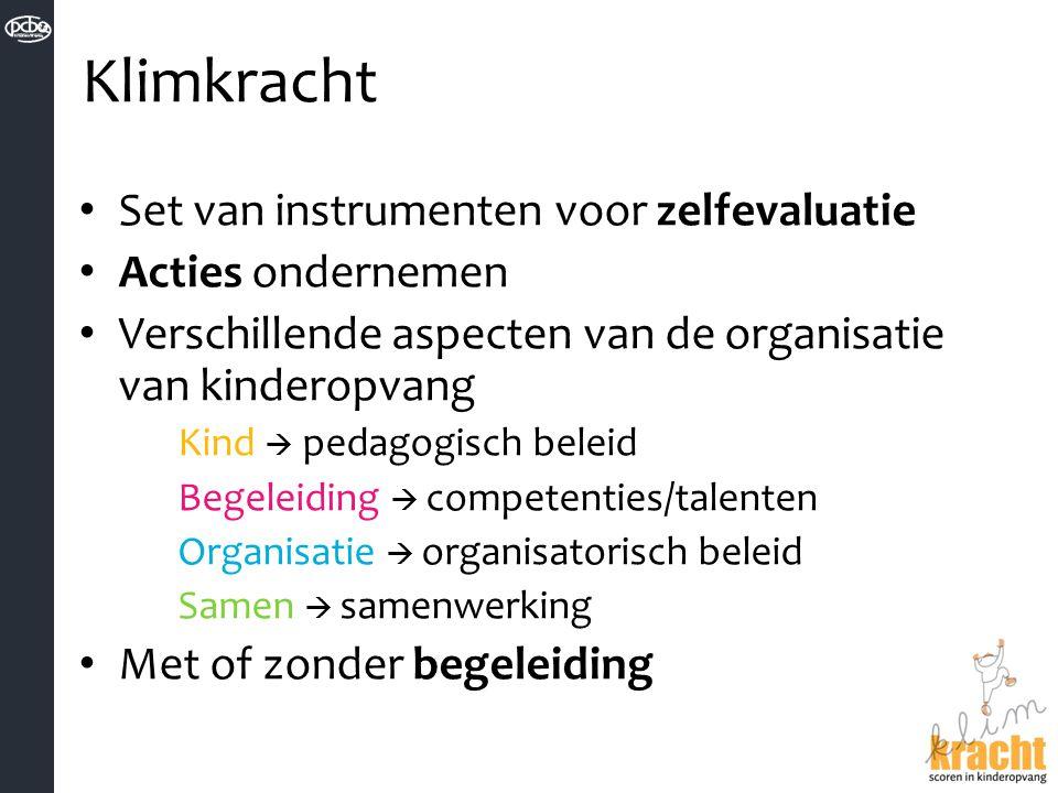 Klimkracht Set van instrumenten voor zelfevaluatie Acties ondernemen Verschillende aspecten van de organisatie van kinderopvang Kind  pedagogisch bel