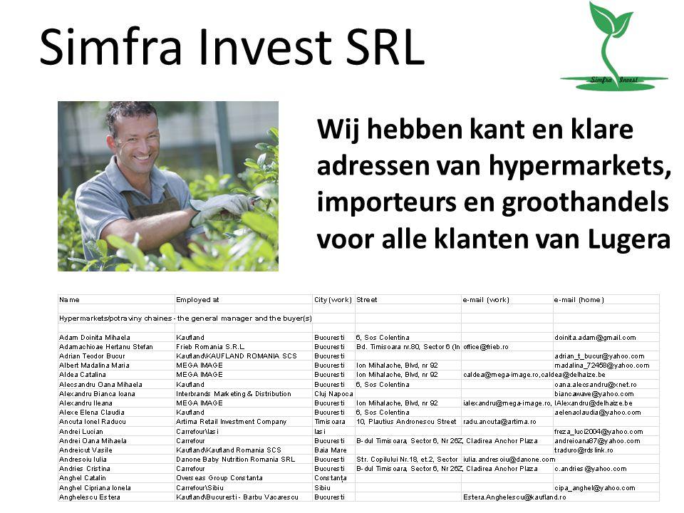 Simfra Invest SRL Wij hebben kant en klare adressen van hypermarkets, importeurs en groothandels voor alle klanten van Lugera