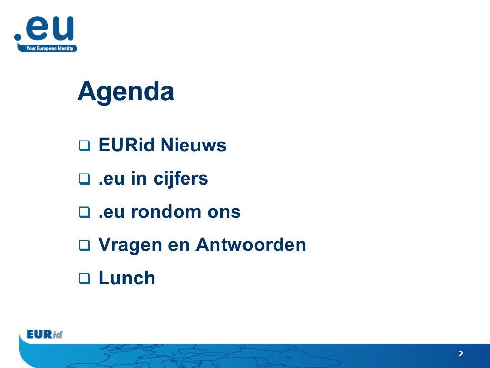 2 Agenda  EURid Nieuws .eu in cijfers .eu rondom ons  Vragen en Antwoorden  Lunch