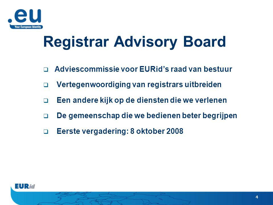 4 Registrar Advisory Board  Adviescommissie voor EURid's raad van bestuur  Vertegenwoordiging van registrars uitbreiden  Een andere kijk op de diensten die we verlenen  De gemeenschap die we bedienen beter begrijpen  Eerste vergadering: 8 oktober 2008