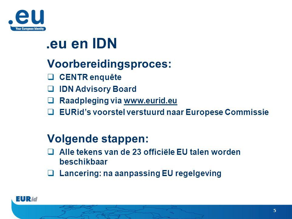 5.eu en IDN Voorbereidingsproces:  CENTR enquête  IDN Advisory Board  Raadpleging via www.eurid.eu  EURid's voorstel verstuurd naar Europese Commissie Volgende stappen:  Alle tekens van de 23 officiële EU talen worden beschikbaar  Lancering: na aanpassing EU regelgeving