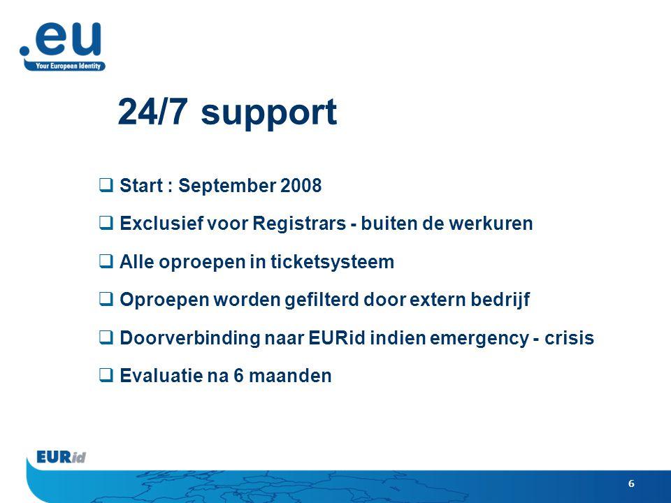 6 24/7 support  Start : September 2008  Exclusief voor Registrars - buiten de werkuren  Alle oproepen in ticketsysteem  Oproepen worden gefilterd door extern bedrijf  Doorverbinding naar EURid indien emergency - crisis  Evaluatie na 6 maanden
