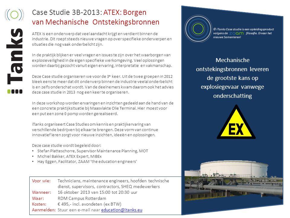 Case Studie 3B-2013: ATEX: Borgen van Mechanische Ontstekingsbronnen ATEX is een onderwerp dat veel aandacht krijgt en verdient binnen de industrie. D