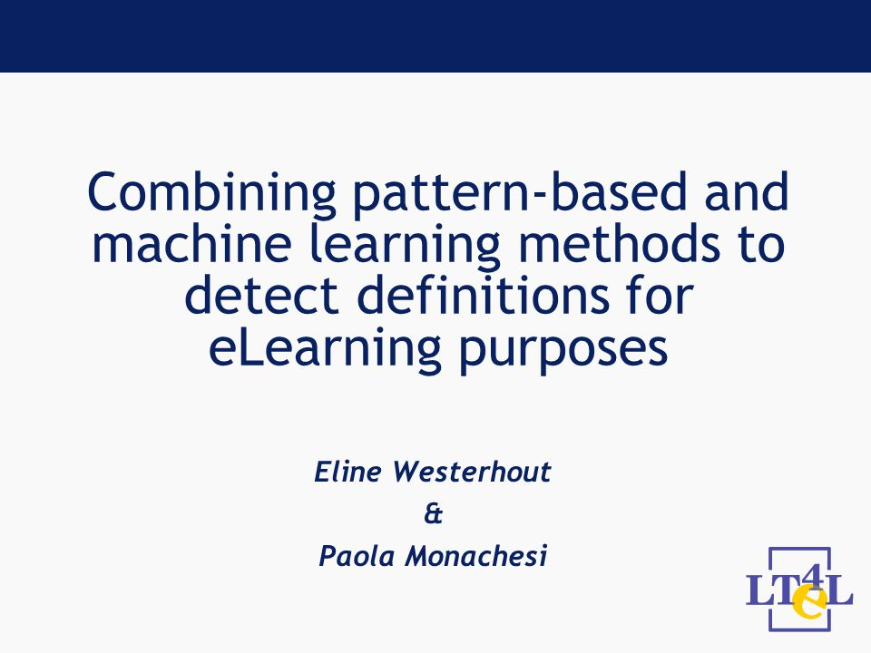 Overview Extraction of definitions within eLearning Types of definitory contexts Grammar approach Machine learning approach Conclusions Future work Discussion