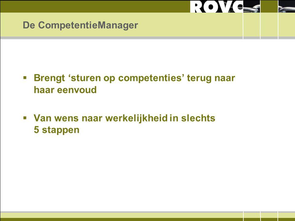 De CompetentieManager  Brengt 'sturen op competenties' terug naar haar eenvoud  Van wens naar werkelijkheid in slechts 5 stappen