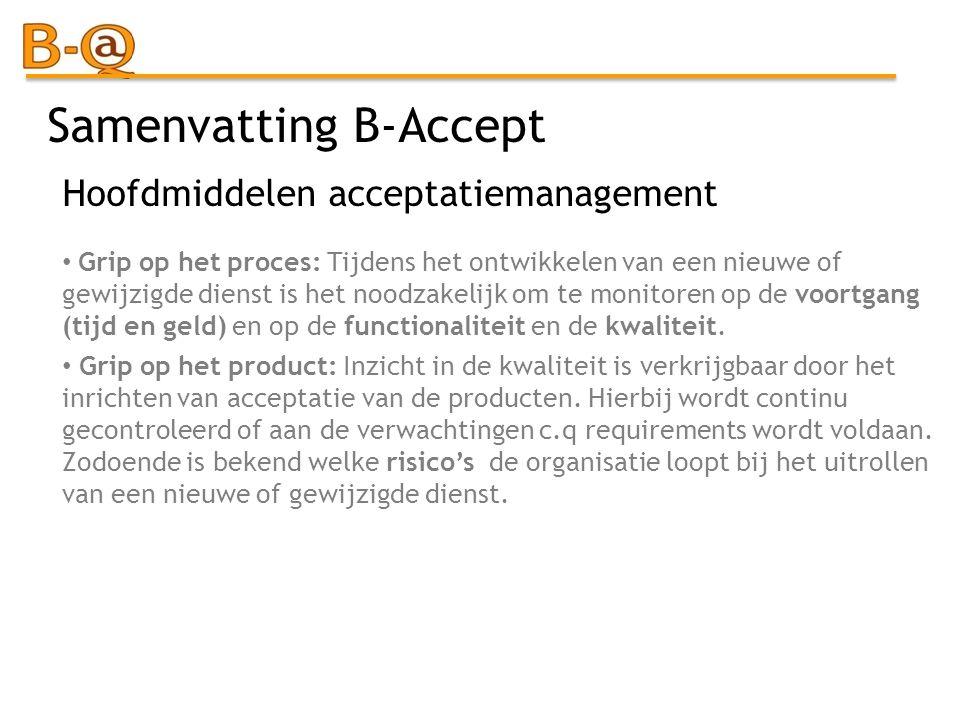 Samenvatting B-Accept Grip op het proces: Tijdens het ontwikkelen van een nieuwe of gewijzigde dienst is het noodzakelijk om te monitoren op de voortg